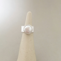 Pearl Ring - Large Pearl Ring - Wide Band Ring
