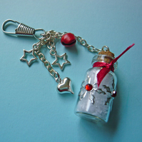 Glass Bottle Handbag Charm with Snow