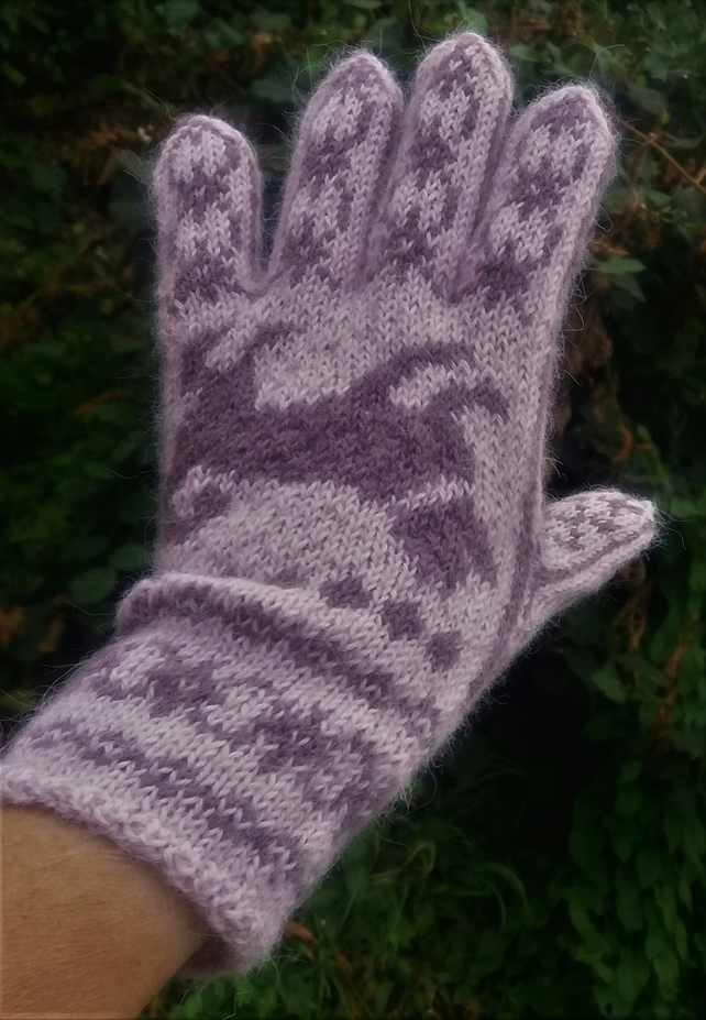 Hand knitted alpaca gloves, the Norwegian Elkhound