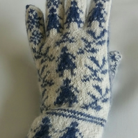 Hand knitted alpaca gloves, Norwegian girls and  dog