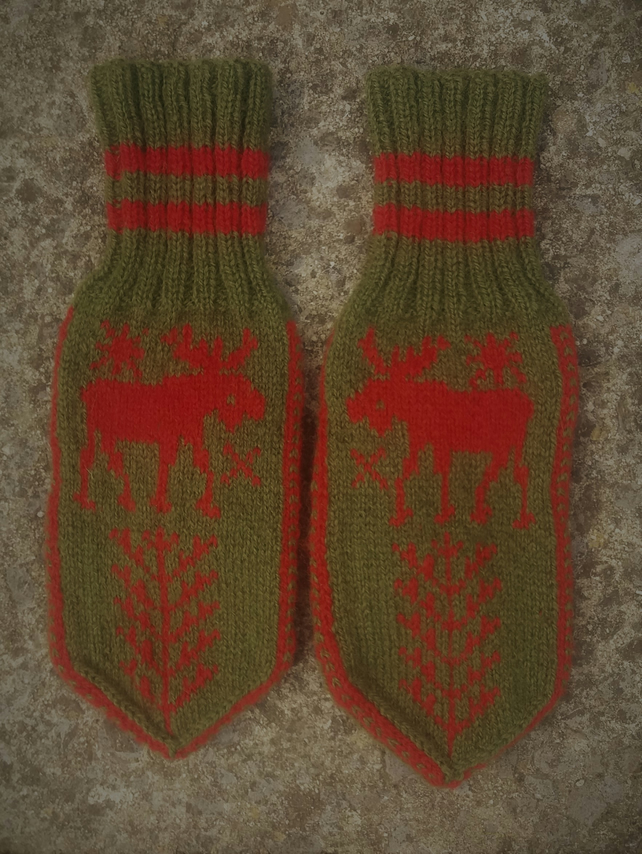 Hand knitted Norwegian Mittens, The Moose and the World's Tree