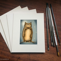 "Hoot Owl - High Quality Window Mounted 10"" x 8"" Giclee Print"