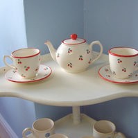 Hand Painted Cherry Design Tea Pot with two matching cups and saucers