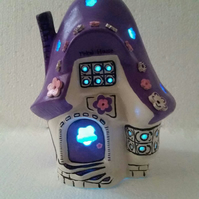 Ceramic Fairy house  - Night light or garden light with colour changing light