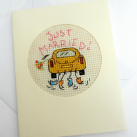 Just Married. Wedding Cross Stitch Card