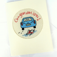 Congratulations, Driving Test, Blank Cross Stitch Card