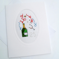 Silver or Golden Anniversary. Birthday. Retirement. Cross Stitch Card
