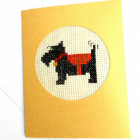 Sale...Scottie Dog Cross Stitch Card