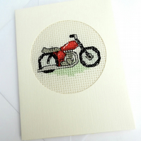 Motorbike Birthday.Blank Cross Stitch Card