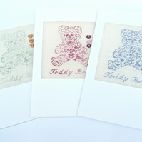 Boy. Girl and Surprise. Teddy 'New Baby' Petit Point Card