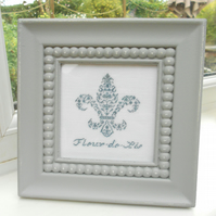 Fleur-De-Lis Framed Petit Point Picture.