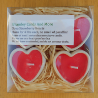 4 Strawberry Soya Heart Shaped Ceramic Candles for Valentines.Mothers Day.