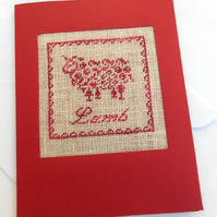 A Lamb Easter Petit Point Card