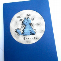 Sale 'Brr' Blank Cross Stitch Card