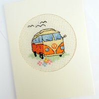 VW Camper Van Birthday. Father's Day Cross Stitch Card