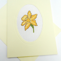 March Birthday.Easter.Mother's Day.St Davids Day. Daffodil Cross Stitch Card