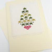 Star Christmas Tree Cross Stitch Card