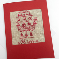A Little Mitten Cross Stitch Christmas Card