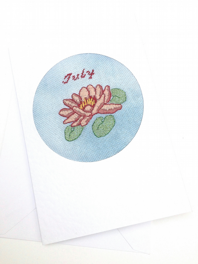 Embroidered Waterlily Card For July Birthday