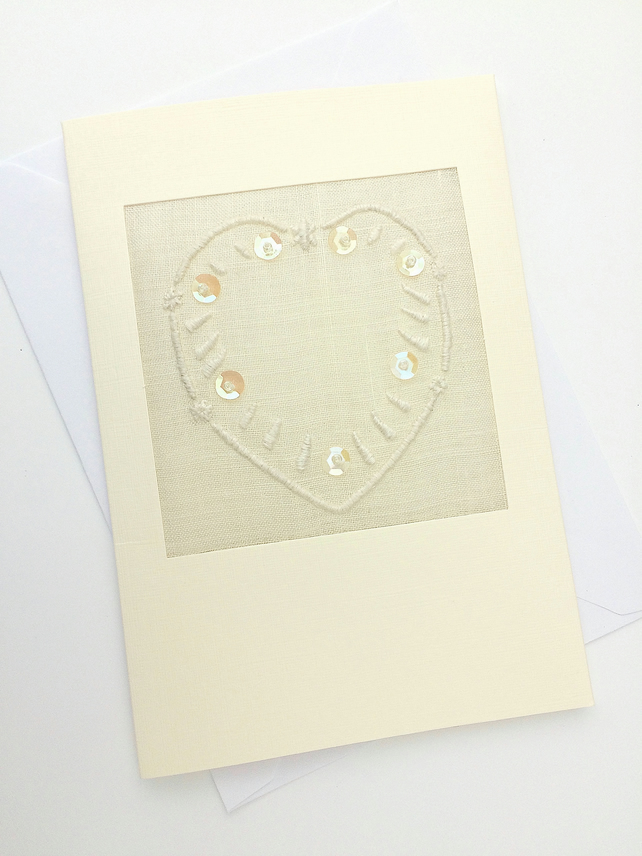 Embroidered Heart And Sequins for Engagement.Wedding.Anniversary