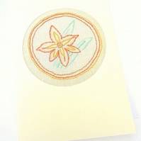 Embroidered Gladioli Card For August Birthday