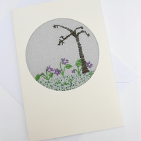 Embroidered Sweet Violets Card for February Birthday. Valentines Day!