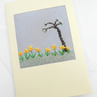 Embroidered Daffodils Card for March Birthday. Mothers Day. Easter.