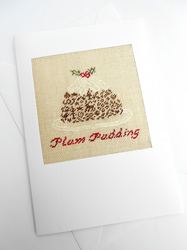 A Christmas Pudding Petit Point Card