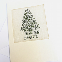 A Noel Pear Tree Petit Point Card