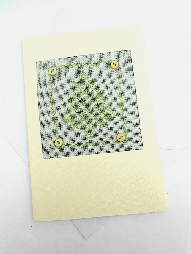 A Button Christmas Tree Petit Point Card