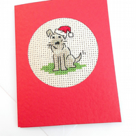 A Miniature Schnauzer. Jack.Boarder.Fox Terriers Christmas Cross Stitch Card
