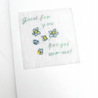 A Forget-Me-Not Birthday. Just For You. Leaving. Retirement Cross Stitch Card