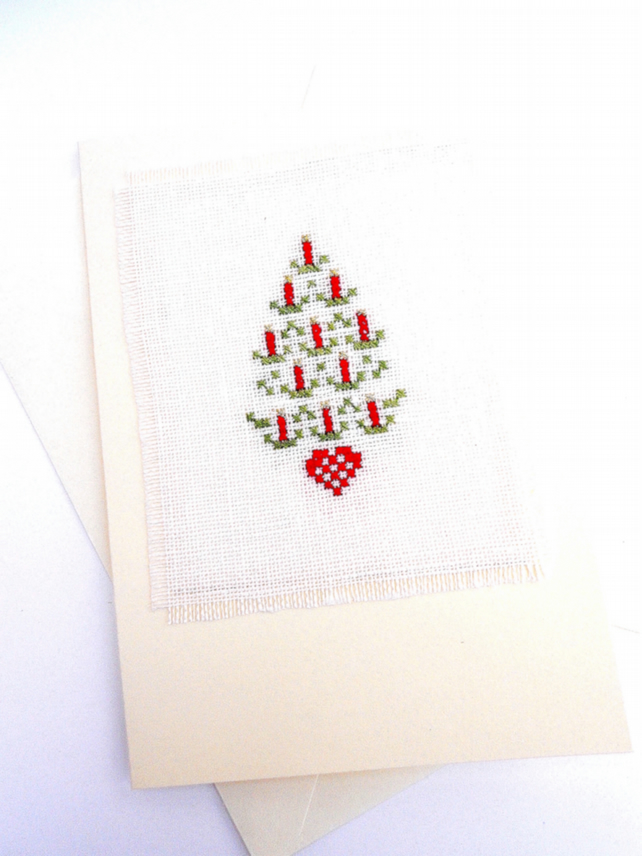 SALE A Candle Tree Cross Stitch Christmas Card