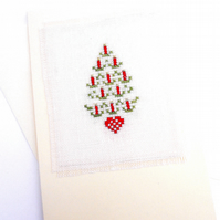 A Candle Tree Cross Stitch Christmas Card