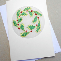 Embroidered Holly Card For December Birthday