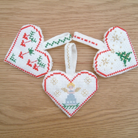 3 Scandi Cross Stitch Hearts for Xmas Tree