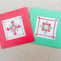 2 Scandi Cross Stitch Tags