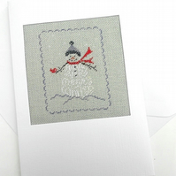 """Have A Very Merry Winter"" Snowman Petit Point Card"""