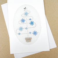 Snowflake Cross Stitch Christmas Card