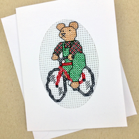Sale..Teddy on Bicycle Birthday. Blank. Cross Stitch Card