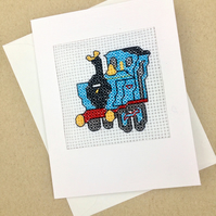 Sale...A Train for Birthday. Train Lover. Blank. Child. Cross Stitch Card