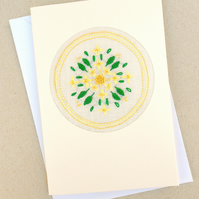 50th Wedding Golden Bells Embroidered Card Birthday. Thank You!