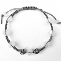For June Birthday Moonstone and Bali Micro Macramé Bracelet