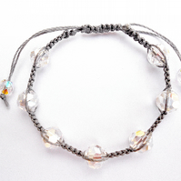 For April Birthday Crystal Micro Macramé Bracelet
