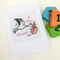 Birth.Christening Cross Stitch Stork Card For Baby Boy or Girl
