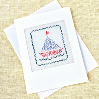 SALE A Very Merry Summer. Bon Voyage. Birthday. Retirement Petit Point Card