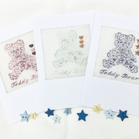 Personalised Boy. Girl. Or Surprise 'Teddy Bear' New Baby Petit Point Card