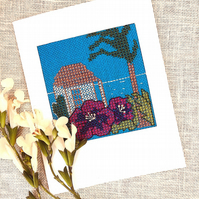 Cross Stitch Tropical Holiday Card
