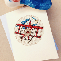 Aeroplane. Boy's Birthday. Blank Cross Stitch In Recycled Card