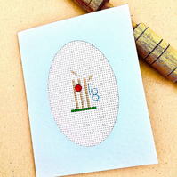 18th, 21st, 30th, 40th, 50th, 60th 70th Birthday Cross Stitch Cricket Card